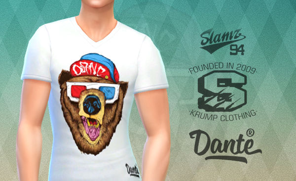 """3D Bear"" T-Shirt White by Dante"