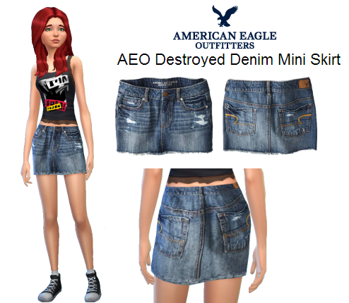 AEO Destroyed Denim Mini Skirt by Candie Coded