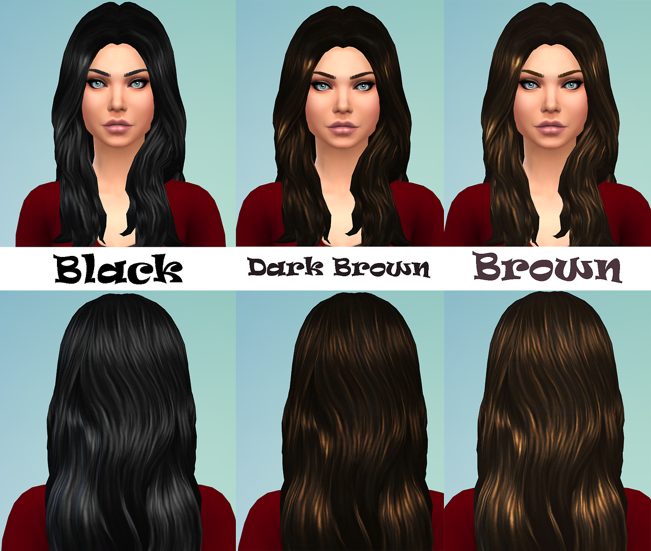 Default recolors of female long wavy hair at Willow Geek
