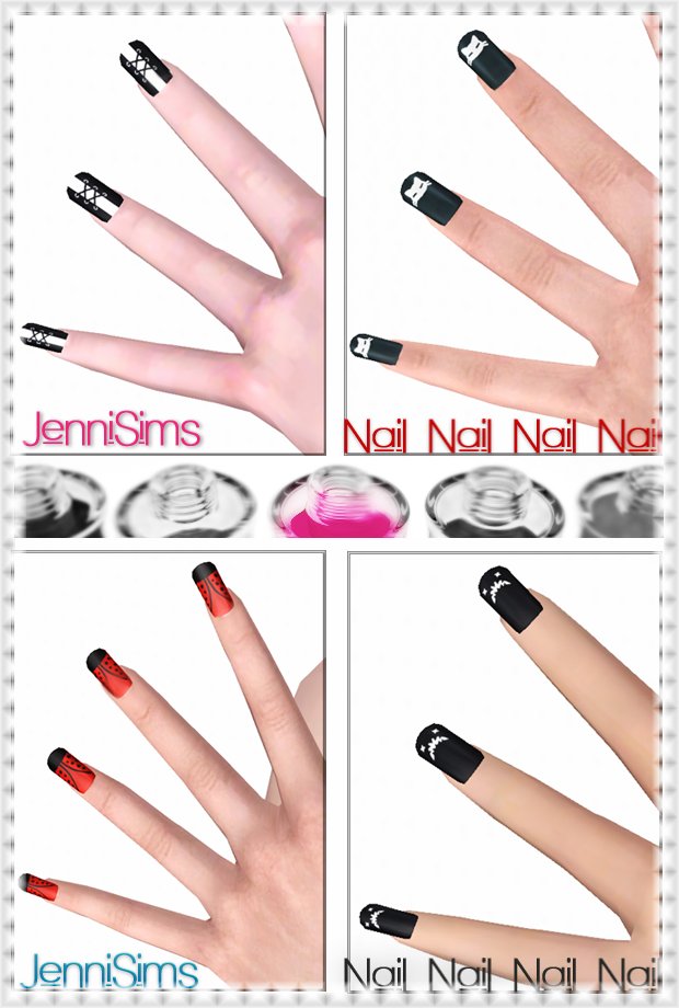Accessory Nail recolorable Base Game compatible (4designs) by Jennisims