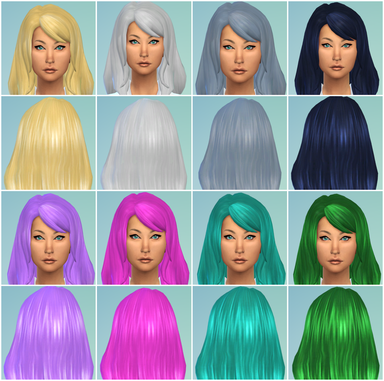 Default recolors female long style bangs swept hair at Willow Geek