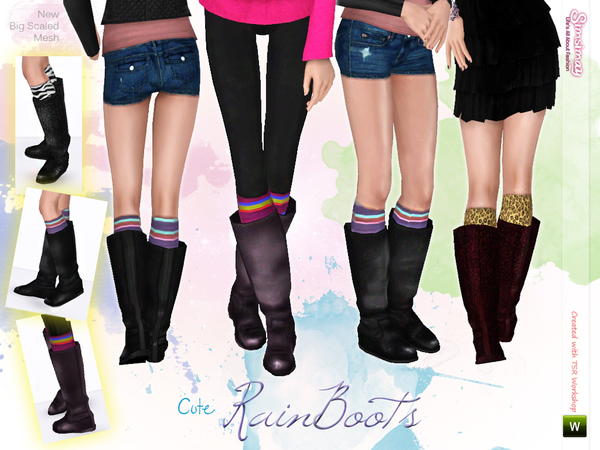Cute Rainboots with Stockings by Simsimay