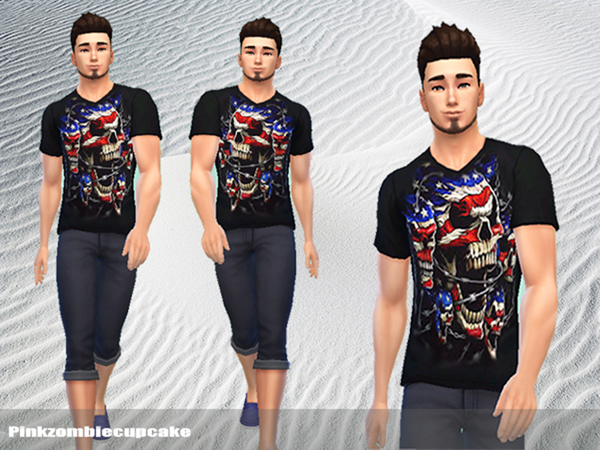 Skull v male shirt by Pinkzombiecupcakes