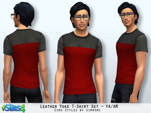 Leather Yoke Tee Shirt Set YA/AM by simromi