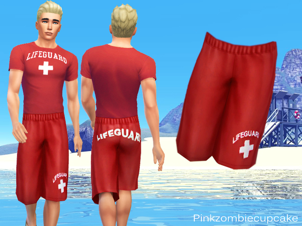 Lifeguard male t-shirt and shorts by Pinkzombiecupcakes