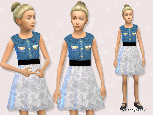 Denim outfit for girls by CherryBerrySim