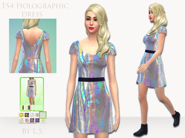 TS4 Holographic Dress by LadyShadows