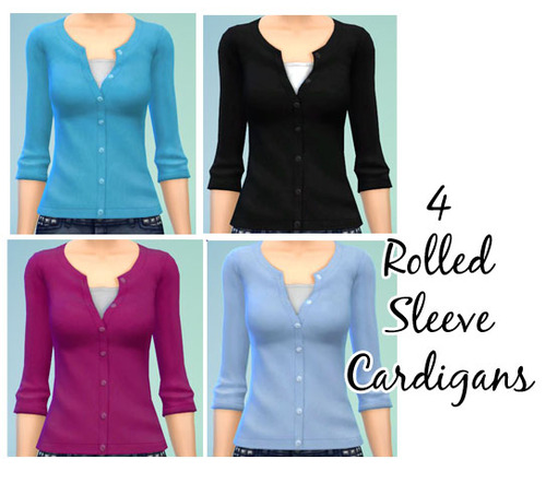 4 Rolled Sleeve Cardigan Recolors by Kaetaters
