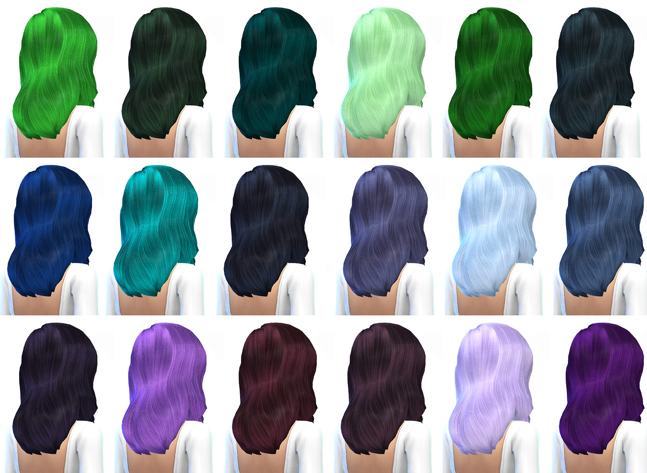 Default Hair Retexture - 45 Colors by Missparaply