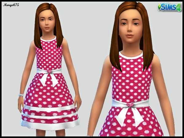 Sims 4 Polka Dot Dress cf by Margeh-75