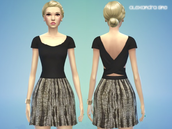 Gabi Contrast Detail Dress by Alexandra_Sine