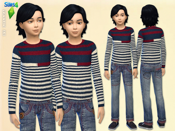 Striped Knit Sweater & Boy Blue Jeans - Set Read by lillka