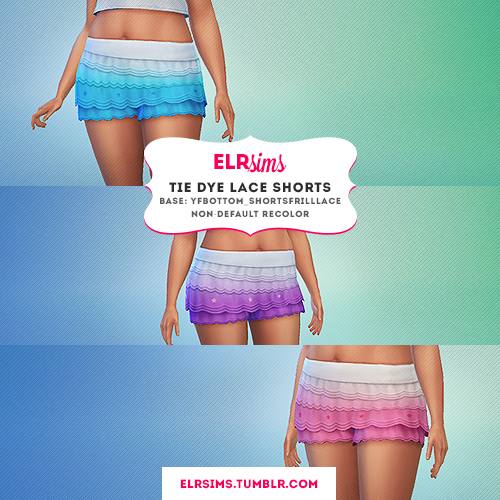 3 Tie Dye Lace Shorts by ELRsims