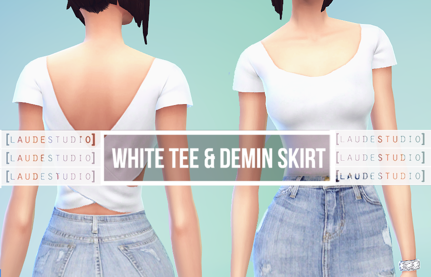 White Tee & Denim Skirt by Laude Studio