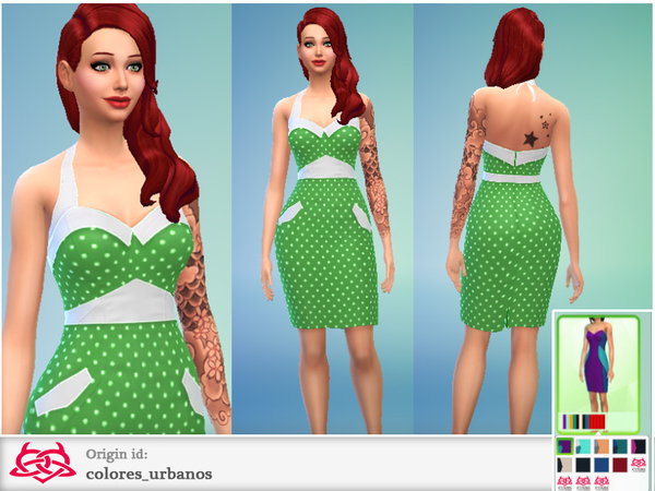 Set pin up polka dot pencil dress by Colores Urbanos