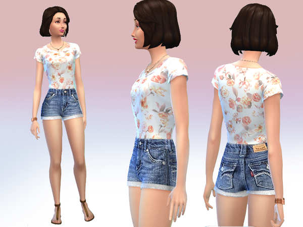 Flower shirt and jeans shorts by Black__Phoenix