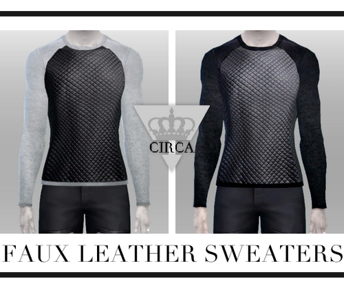 Faux Leather Sweaters for Males by Circa