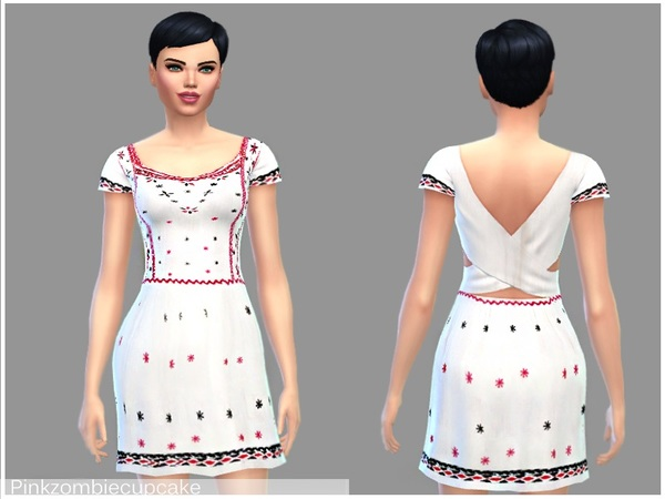 White floral summer dress by Pinkzombiecupcakes