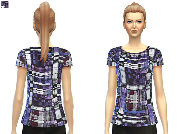 Multi Check Silk Top by SimDetails