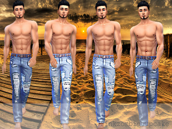 Distressed acid wash jeans by Pinkzombiecupcakes