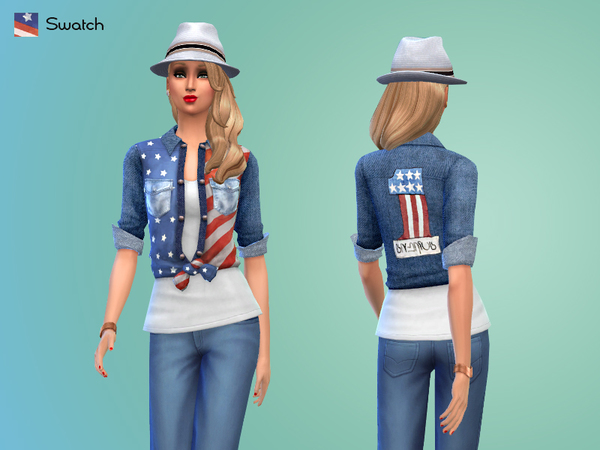 American Flag Denim Shirt by Wolfcry