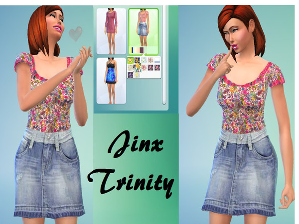 Top with jeans skirt for preggers by JinxTrinity