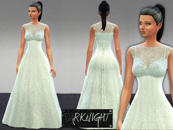 Embellished Blue-White Dress (New Mesh) by DarkNighTt