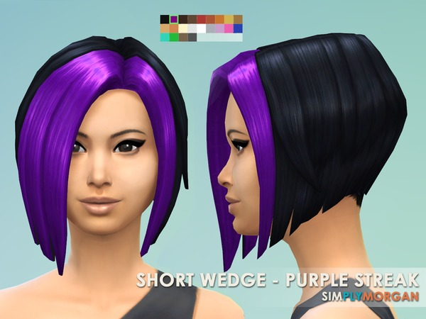 3 Purple Hair Non-Default Recolors by SimplyMorgan77