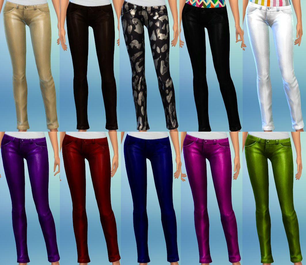 10 Skinny Leather Pants Recolors by The Simsperience