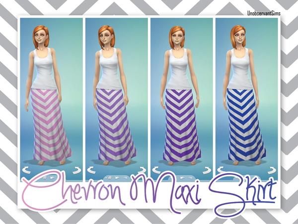 Chevron Maxi Skirt by UnobservantSims