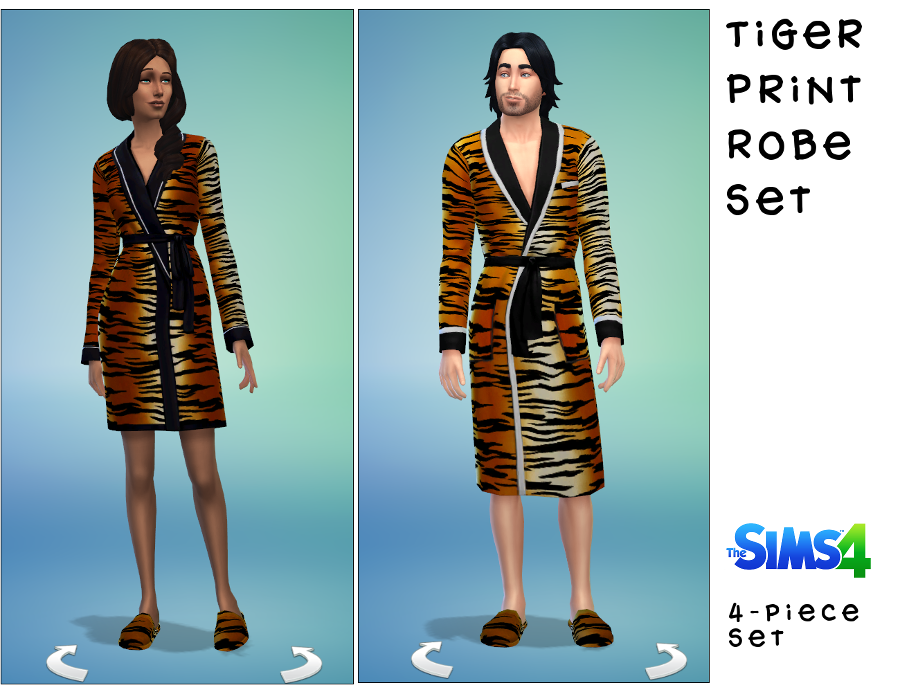 Tiger Print Bathrobes for Males & Females by Sydney