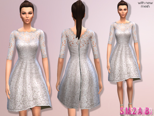 02 - Floral cocktail dress by sims2fanbg