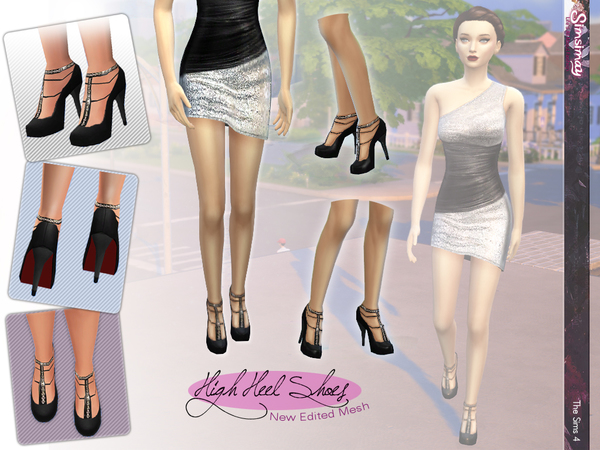 Chain T-Strap High Heel Shoes by Simsimay