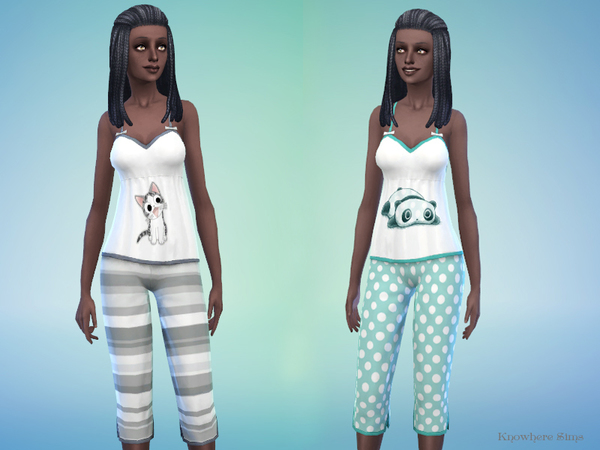 Pajamas Set - Striped Chi cat & polka dots Tarepanda by hadassaXD