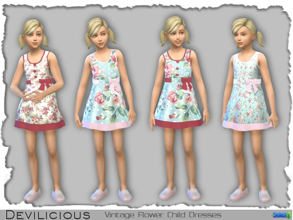 Vintage Flower Dresses for Little Girls by Devilicious