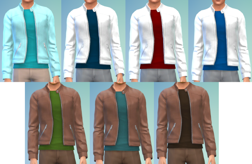 Leather Jacket with Tees Recolors for Males by The Simsperience