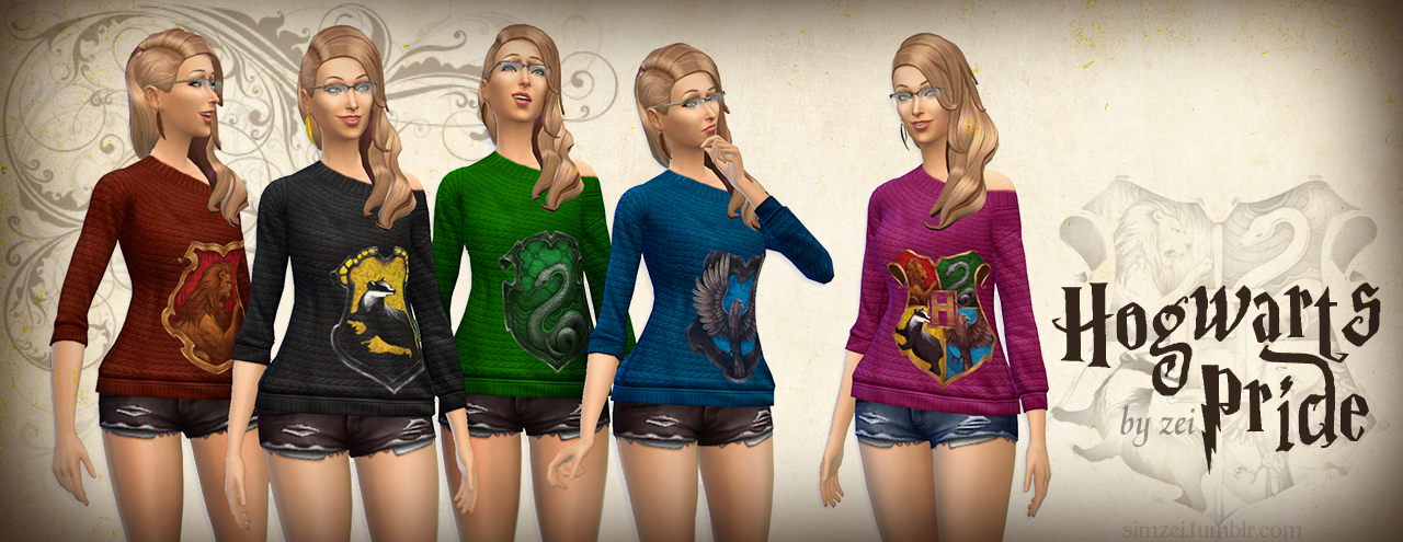 Hogwarts House Pride Sweaters by SimsZei