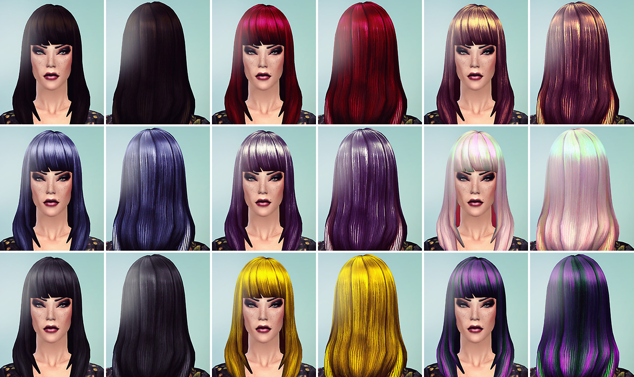 Long Straight Bangs Retexture by Writeinsimlish