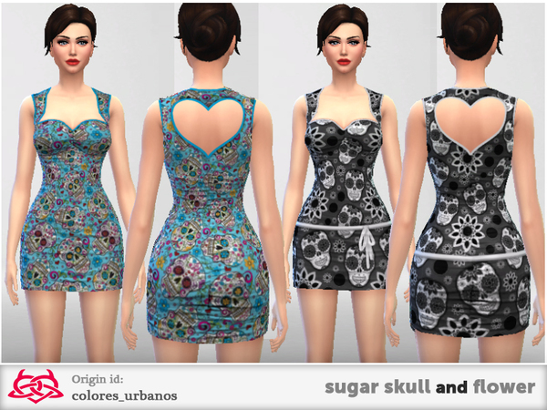 mini dress sugar skull and flower by Colores Urbanos