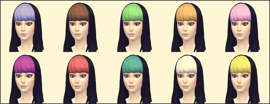 Long Straight Bangs Hair Recolors by Sims4Downloads