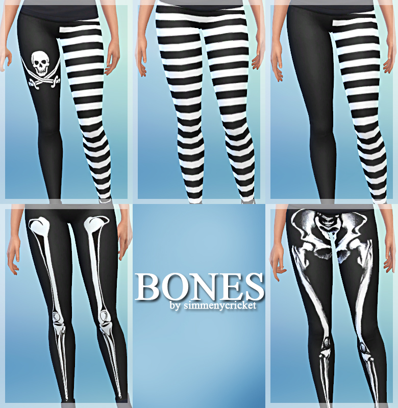 Bones - A Set of 5 Leggings for Females by Simmenycricket