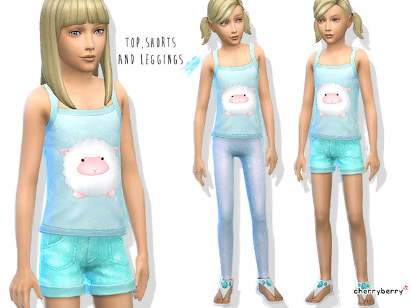 Sky blue - Girls clothing set by CherryBerrySim