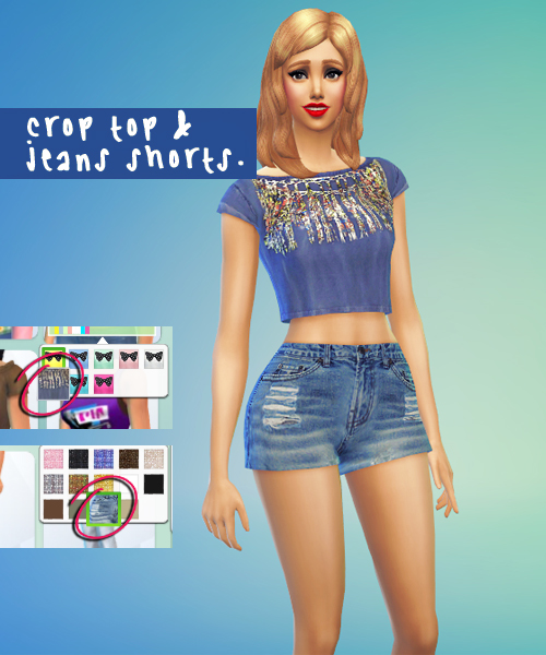 Croped top and denim shorts at Sim-sala-sim