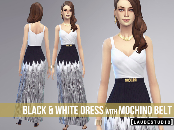Black and White Dress with Mochino Belt by LaudeStudio