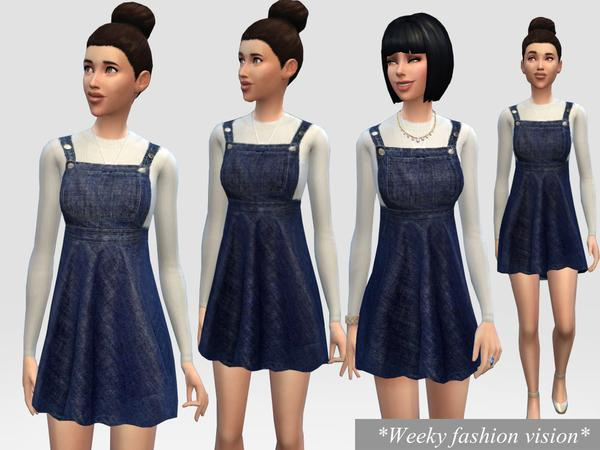 Denim Dungaree Dress by Weeky