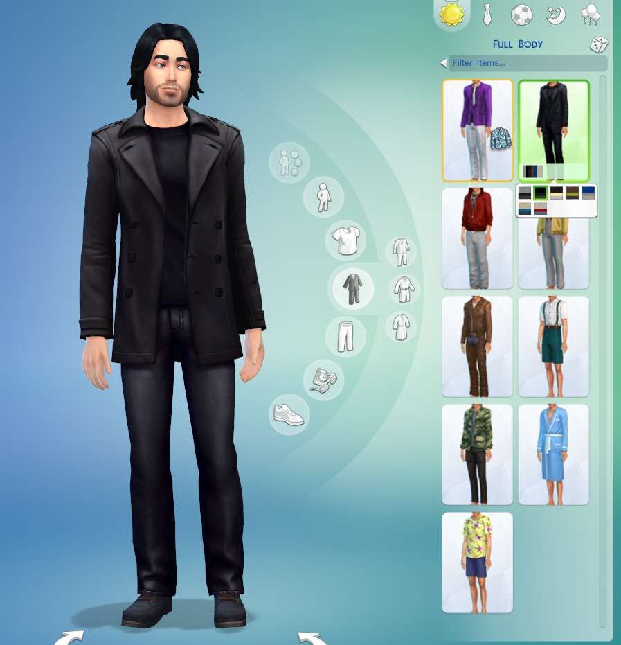 All-Black Trenchcoat for Sims 4 guys by Sydney