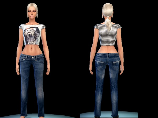 set top and jeans casual female by simsoertchen