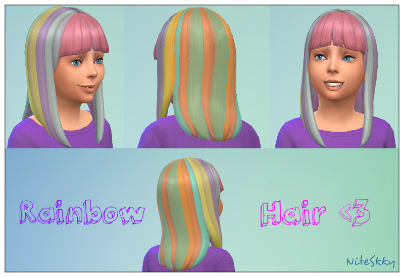 Rainbow Hair for Girls by Niteskkysims