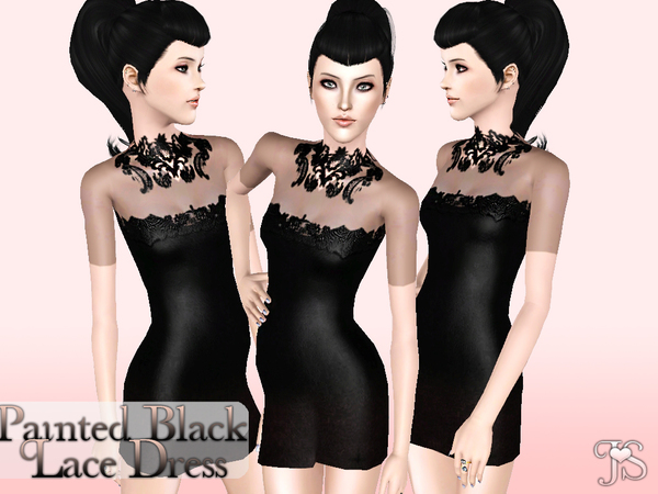 Painted Black Lace Dress by JavaSims