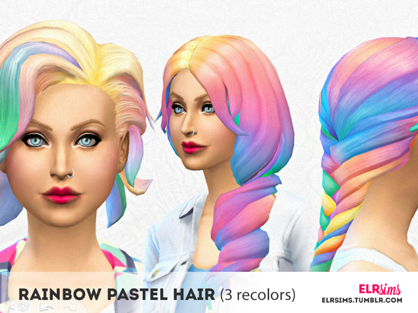 [ELR SIMS] Rainbow Pastel Hair (3 non-default recolors) Publis by elrsims